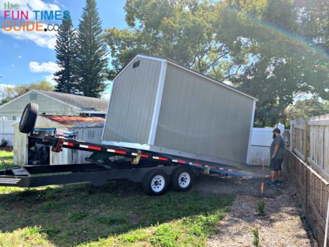 The Tuff Shed team installing the new shed in my yard.