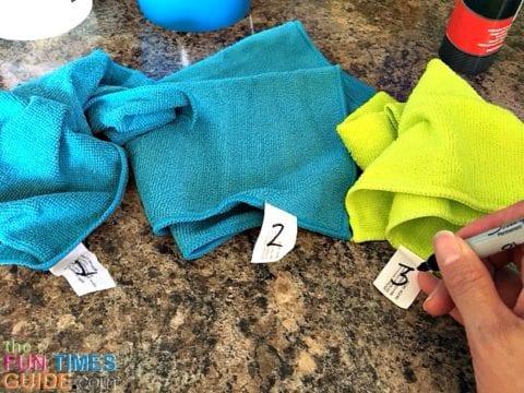 I mark each microfiber cloth with a Sharpie - so each one is only used for a very specific purpose.